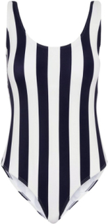 PIECES Striped One-piece Swimsuit Kvinna Blå