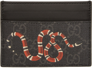 Gucci Black and Grey GG Supreme Snake Card Holder