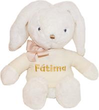 Mjukisdjur vit kanin med päls, 40 cm