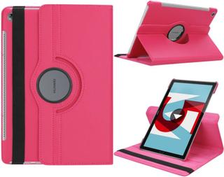 Huawei MediaPad M5 10 beskyttelses deksel i PU skinn med litchi kornete tekstur - Rose rosa