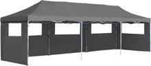 vidaXL Pop-Up hopfällbart partytält med 5 sidoväggar 3x9 m antracit