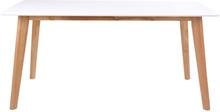 Bjørk - Hvidt spisebord 210 cm m. træ ben (egefarvet)