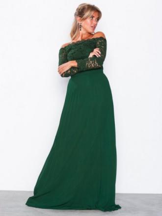 NLY Eve Off Shoulder Lace Gown Grønn