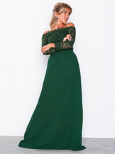 NLY Eve Off Shoulder Lace Gown Maxiklänningar Grön