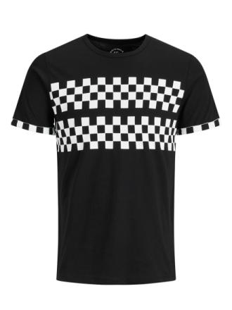 JACK & JONES Checkered T-shirt Men Black