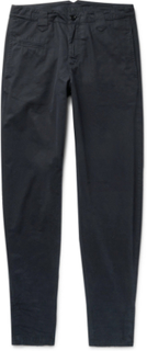 Tapered Distressed Cotton-twill Trousers - Midnight blue