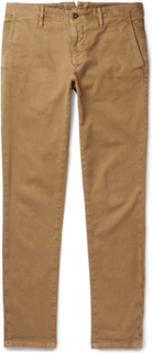 Slim-fit Textured Stretch-cotton Trousers - Tan