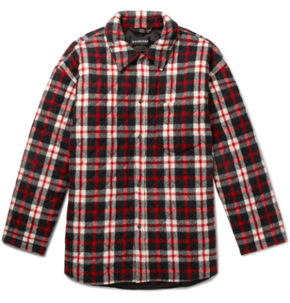 Oversized Quilted Checked Cotton-flannel Coat - Red
