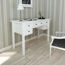 vidaXL Skrivbord med 5 lådor vit