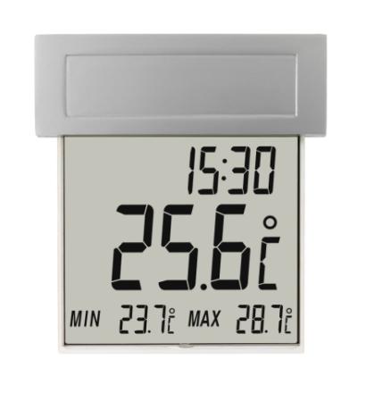 Beurer UT 101 Udendørs Vinduestermometer m. Ur og Solceller - Apuls