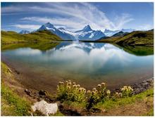 Fototapet - Sjö med berg eftertanke, Schweiz - 200x154 cm