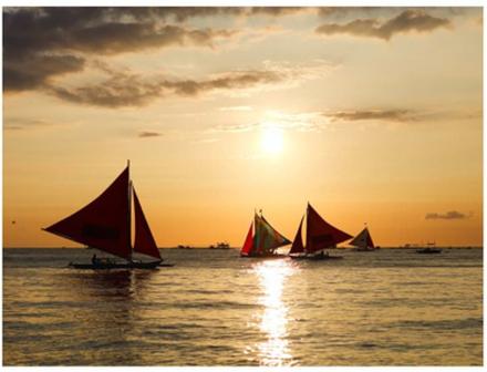 Scandinavian Artstore Fototapet - sailing boats - sunset - 200x154 cm