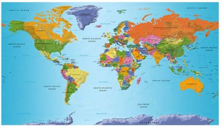Scandinavian Artstore Fototapet XXL - World Map: Colourful Geography II - 500x280 cm