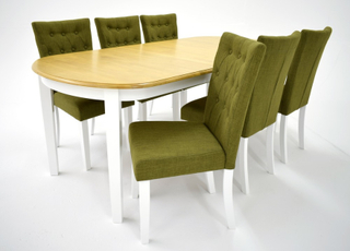 Ramnäs matgrupp - Bord inklusive 6 st Crocket stolar i grön klädsel - Vit/ekbets