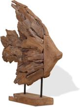 vidaXL Fiskskulptur teak 40x12x57 cm