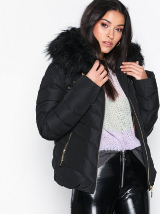 Hollies Chatel Gold Zip Fake Fur Dunjackor Svart