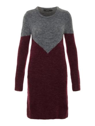 VERO MODA Colour Blocked Knitted Dress Women Grey