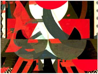 Scandinavian Artstore Fototapet - Konst komposition i rött - 200x154 cm