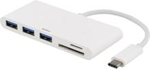 Deltaco Usb 3.1 Gen 1 hubb, Usb-C, 3USB A, Sd/microSD-läsare, vit