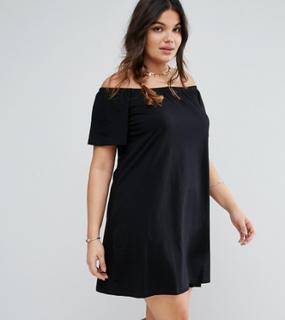 ASOS CURVE Off Shoulder Mini Dress - Black