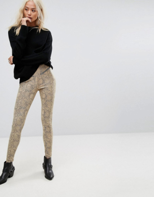 Religion High Waist Biker Trousers In Faux Snake -