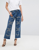 Religion Mom Jeans With Premium Embellishment - Bl