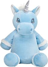 Blå enhörning mjukisdjur med namn, 40 cm