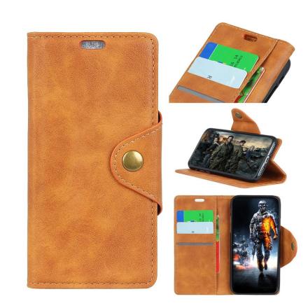 Huawei Honor 10 Lite beskyttelses deksel av syntetisk skinn - brun