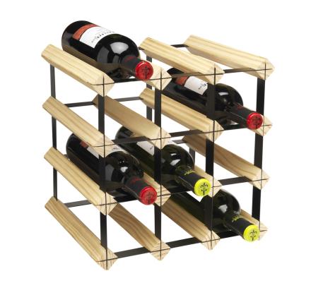 Påbyggnadsbart vinställ för 12 flaskor