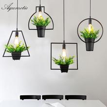 Aqumotic Farmhouse Hanging Chandelier Holder 1piece Green Plant Lampshade Art Creative Metallic Lampshade Modern Chandelier