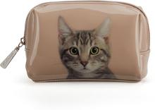 Catseye London Tabby on Taupe Beauty Bag