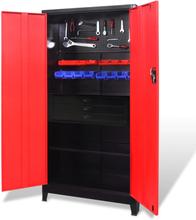 vidaXL værktøjsskab med værktøjskasse 90x40x180 cm sort og rød