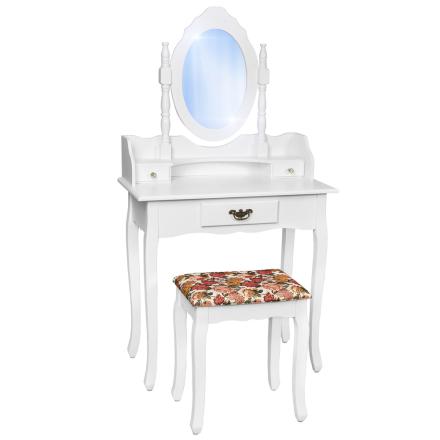 Sminkbord med spegel och pall i antik stil