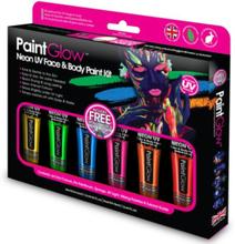 Neon UV ansikts- och kroppsmålning