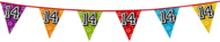 Holografische vlaggenlijn 8 m met het cijfer 14