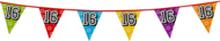 Holografische vlaggenlijn 8 m met het cijfer 16