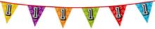 Holografische vlaggenlijn 8 m met het cijfer 1