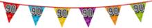 Holografische vlaggenlijn 8 m met het cijfer 90