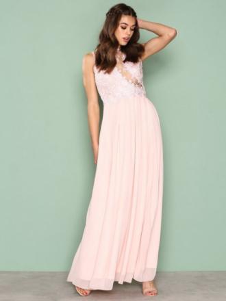 Ax Paris Lace Detail Dress Pink