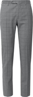 Slim-fit Tapered Prince Of Wales Checked Woven Trousers - Gray