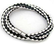 Konstläderarmband Gary svartvitt