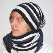Mössa/Halsduk SALMON svart/vit/grå