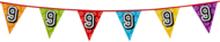 Holografische vlaggenlijn 8 m met het cijfer 9