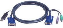 Aten KVM Kabel VGA Hona / 2x PS / 2 Plug - VGA hane / USB A hane 1.8 m