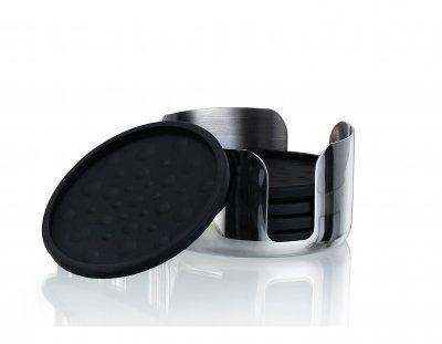 Glasunderlägg svart 6 st