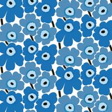 Pieni Unikko kangas valkoinen-sininen