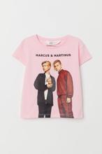 H & M - T-shirt med motiv - Rosa