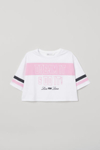 H & M - Kort T-shirt med trykk - Hvit