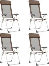 vidaXL foldbare campingstole 4 stk. aluminium brun