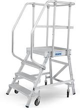Fahrbare Podestleiter mit einseitigem Aufgang, 4 Stufen